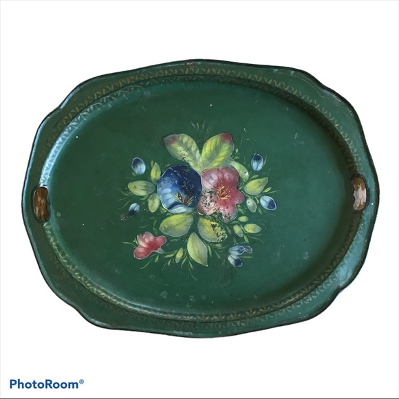 Floral Vintage Made in Russia Tin Tray